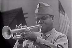 Louis Armstrong playing trumpet wearing an army uniform with a US flag behind him