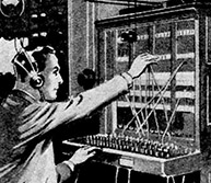 Illustration from Coyne Electrical School of Man working at old-fashioned telephone switchboard