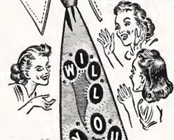 Illustration from the Glow in the Tie Necktie Ad. Women showing delight at seeing the tie.