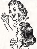 Detail from illustration of women from necktie ad. The delight they show in detail can be seen as questionable.