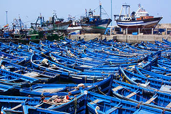 Blue fishing boats in Essouria, Morocco