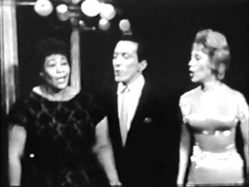 Ella Fitzgerald, Andy Williams and Dinah Shore singing together or the Dinah shore Show, December 11, 1960.